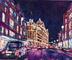 Harrods at Night by Timmy Mallett -  sized 12x10 inches. Available from Whitewall Galleries